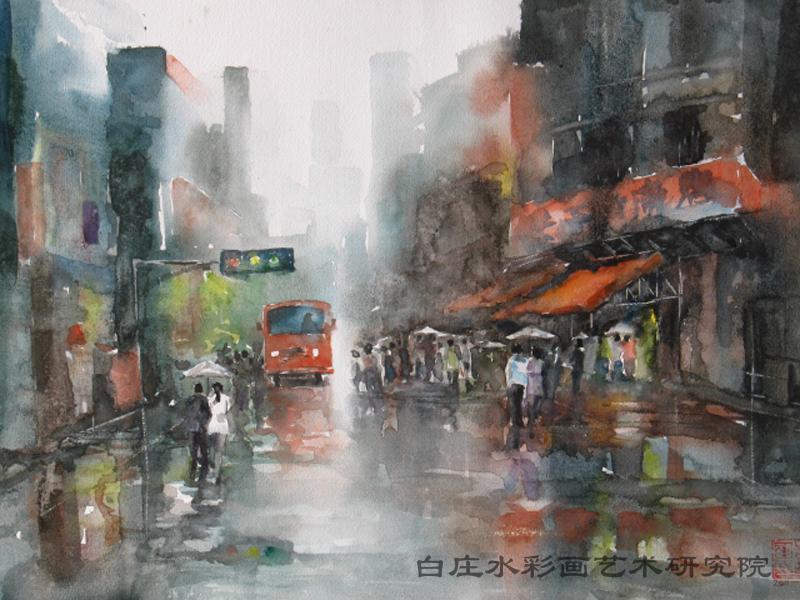 欧洲油画风景 雨景